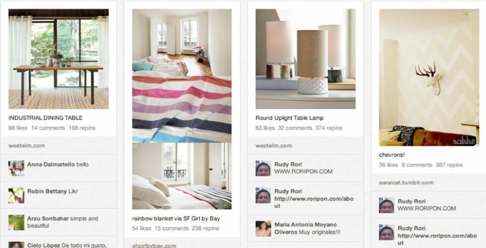KLIPP OG LIM: På Pinterest samler du alt du liker på smarte oppslagstavler. FOTO: Skjermdump fra Pinterest.com