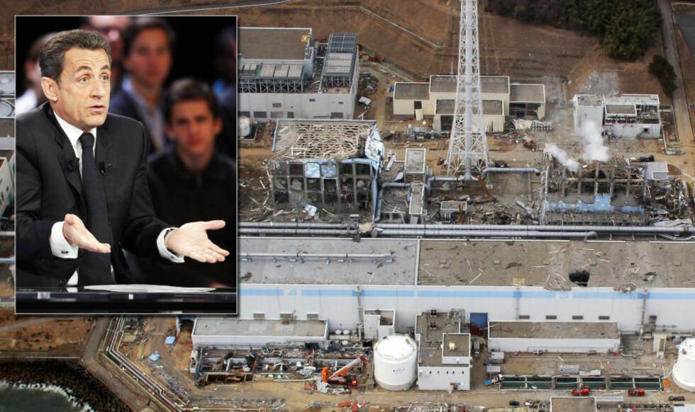 TABBET SEG UT: Nicolas Sarkozy måtte innrømme at besøket til Fukushima-anlegget var oppspinn, og at det bare var mijøvernminister Nathalie Kosciusko-Morizet som dro; selv kom han ikke lenger enn til Tokyo. Foto: EPA OG AFP / NTB SCANPIX