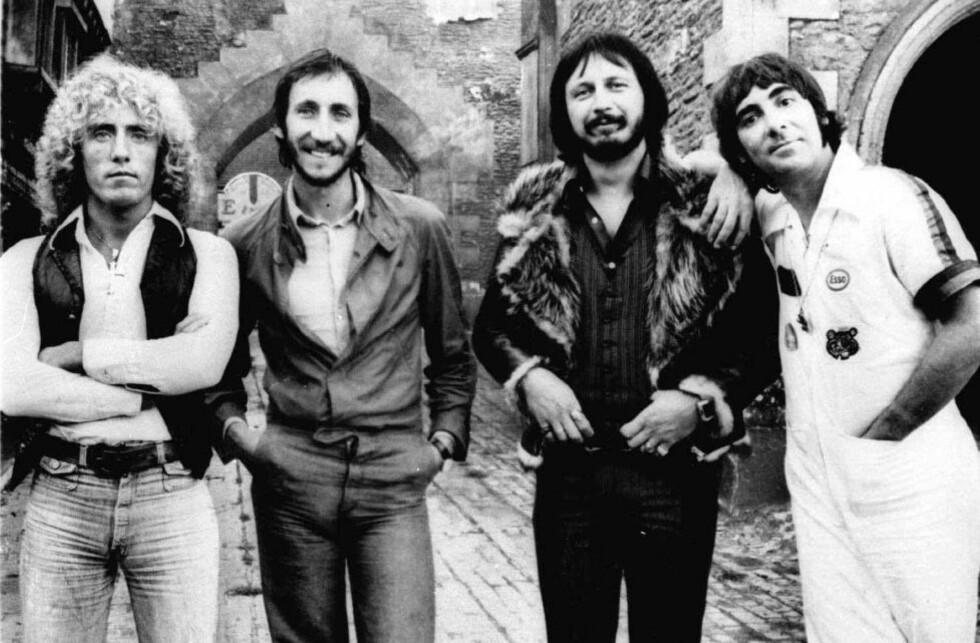 LEGENDARISKE: The Who fotografert i 1976. F.v. Roger Daltrey, Pete Townshend, John Entwistle og Keith Moon. Bare Daltrey og Townshend er fremdeles i live. Foto: AP / NTB SCANPIX