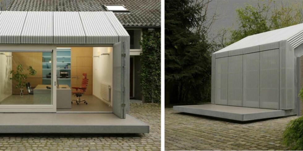SMART LØSNING: Arkitektene gjorde garasjen om til et stilig hjemmekontor.  FOTO: Post & Van Leeuwen Photographers