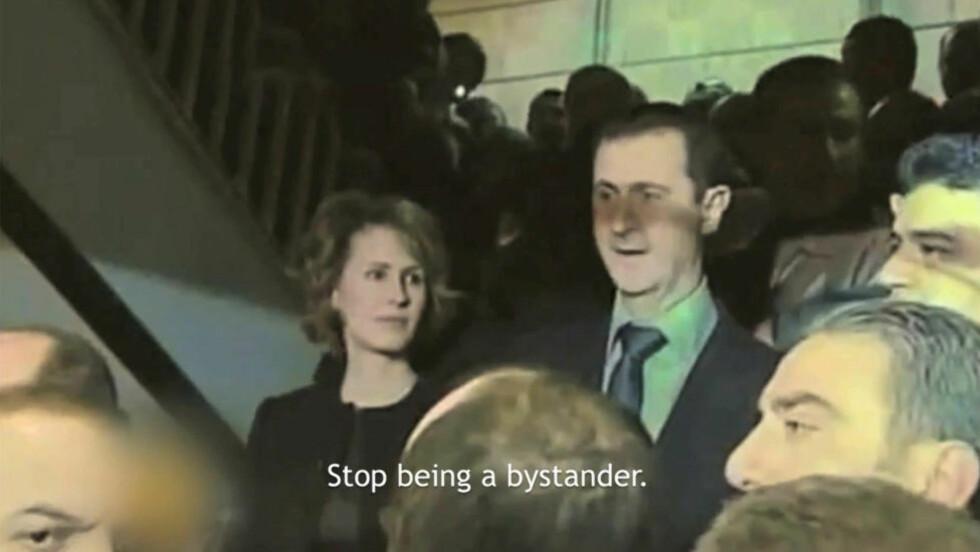 KREVER HANDLING: I en ny video krever FN-koner at Syrias førstefrue stopper sin ektemann. Foto: YouTube