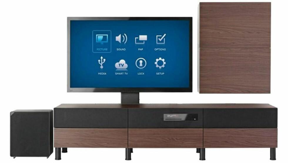 UPPLEVA: Til høsten kan du kjøpe IKEA-møbler med TV og lyd integrert.  FOTO: Ikea
