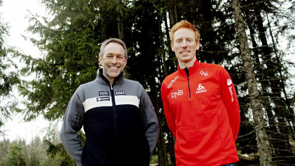 NYE TRENERE: Roger Grubben (t.v.) og Espen Nordby Andersen er de nye trenerne for skiskytterherrene. Foto: Stian Lysberg Solum / Scanpix