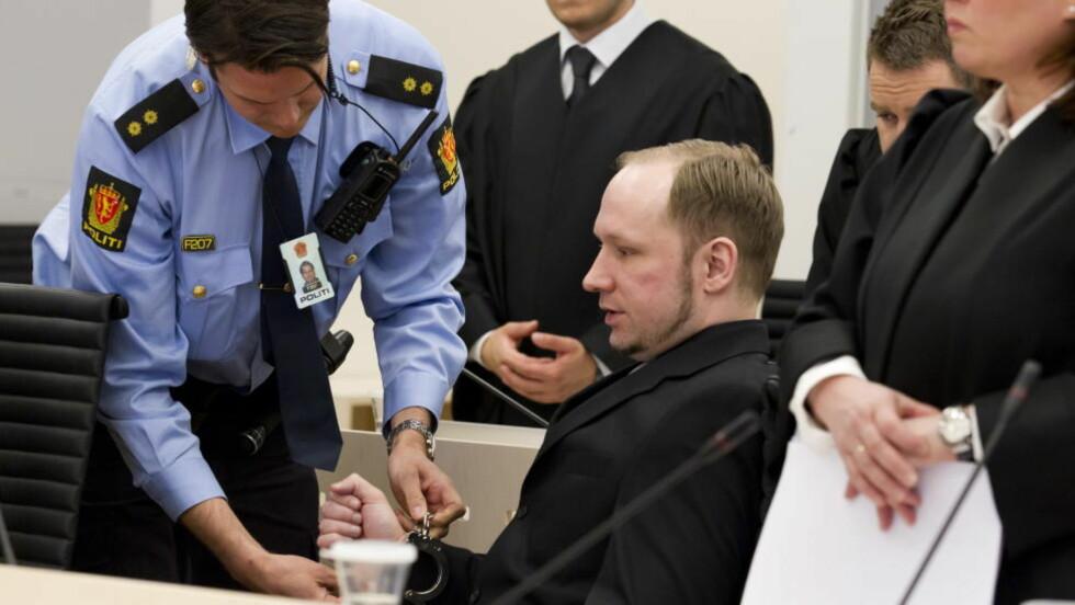 DAG 5: Dagen i dag er ventet å bli den tøffeste hittil i rettssaken. Terrortiltalte Anders Behring Breivik skal blant annet fortelle om drapene på Utøya. Foto: Heiko Junge / NTB scanpix