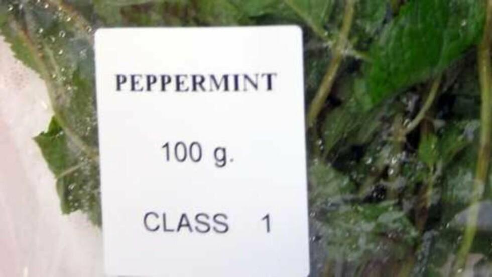 TRUKKET TILBAKE: Mattilsynet har trukket tilbake 37 kg peppermynte fra markedet. Urtene er produsert i Malyasia. Foto:Mattilsynet.