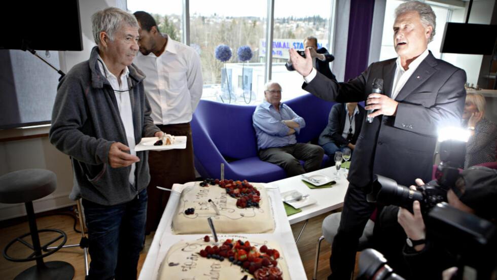 KONFERANSIER: Dan Børge Akerø var konfranseier på fotballforbundets tilstelning i forbindelse med Drillos 70-årsdag. Foto: LARS EIVIND BONES