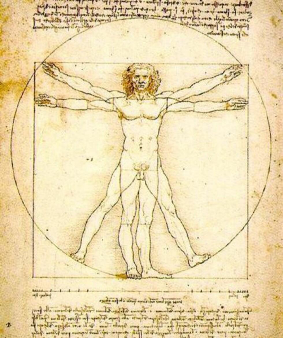 GYLNE SNITT: Leonardo da Vincis tegning av det perfekte menneske, basert på det gylne snitt.