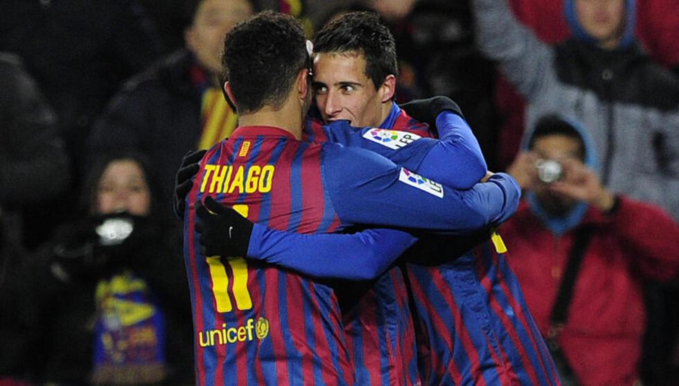 FRA START: Ifølge spanske aviser vil Thiago og Christian Tello (t.h) starte mot Real Madrid i kveld. Foto: AFP Photo / Josep Lago / Scanpix
