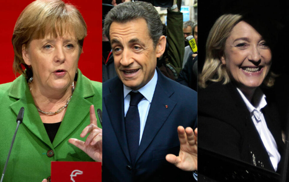 VALG: Angela Merkel (t.v.) er bekymret over Marine Le Pens (t.h.) gode valgresultat. Foto: EPA/JOCHEN LUEBKE/REUTERS/YVES HERMAN/AFP PHOTO/JOEL SAGET/NTBSCANPIX
