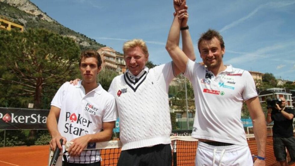 NORTHUG-SEIER: Petter Northug vant mot Marcus Hellner i en tennismath i Monte Carlo. Boris Becker var dommer. Foto: Thorkild Gundersen, Vi Menn.