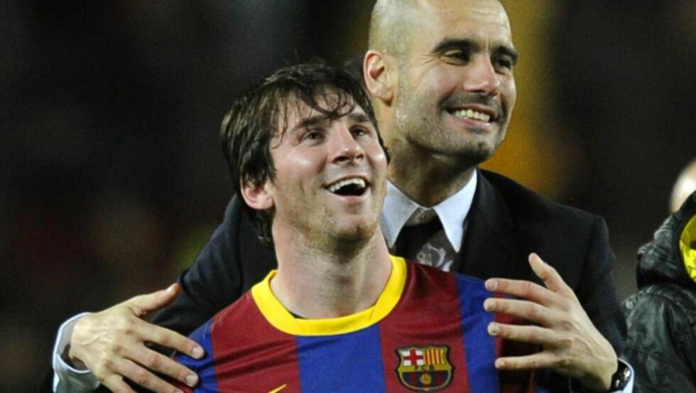 TAKKER PEP: Lionel Messi sender store takk til Pep Guardiola. Men han våget ikke stille opp på dagens pressekonferanse. Foto: Javier Soriano, AFP / NTB scanpix