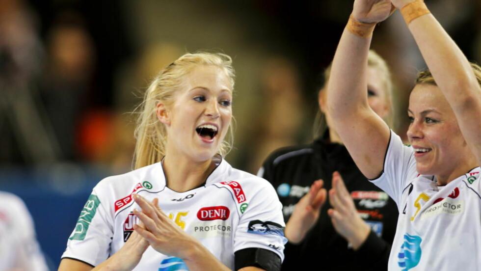 TOPPSCORER: Linn Jørum Sulland ble toppscorer for Larvik som knuste Byåsen i finalen lørdag. Foto: Fredrik Varfjell / Scanpix