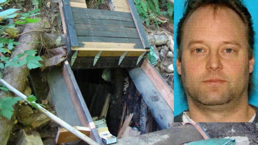 SKJØT SEG SELV: Peter Keller (41), som var mistenkt for å ha skutt og drept sin kone og datter, ble funnet i sin selvbygde bunker i skogen ved Rattlesnake Ridge-området. Etter politiet brukte eksplosiver for å ta seg inn i bunkeren, fant de det de mener er Keller død ved inngangen. Han hadde skutt seg selv. Foto: King Co. Sheriff's Dept / AP Photo / Ntb Scanpix