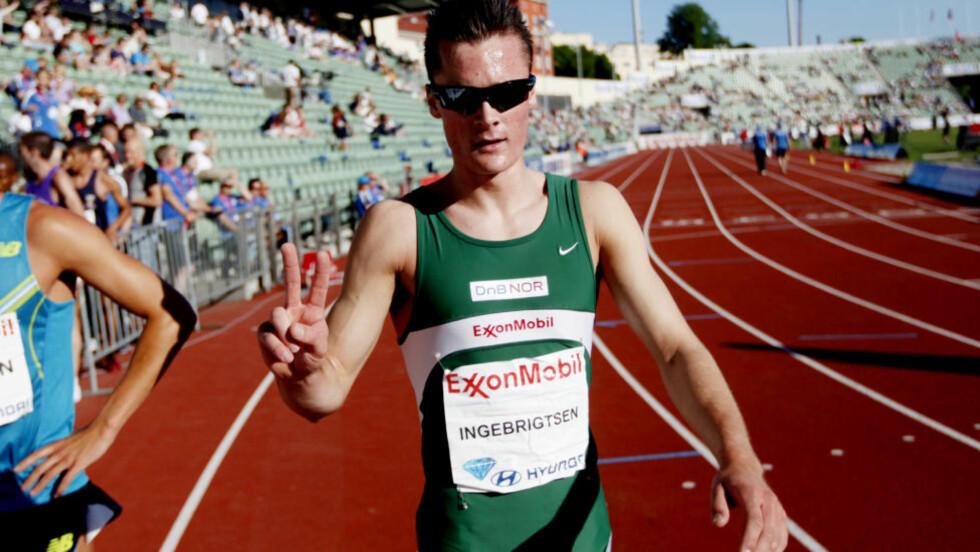 SLETTET KAUPANGS REKORD: Henrik Ingebrigtsen senket den norske rekorden på 1500 meter med ett sekund, fra 3.37,4 til 3.36,39.   Foto: Kyrre Lien / SCANPIX .