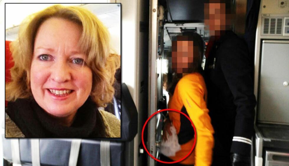 UBEHAGELIG: Tone Kolaas (t.v.) syntes det var ubehagelig at en kvinne fra et utdrikningslag fikk komme inn i cockpiten under flygning. Til høyre kan du se sløret den kommende bruden hadde på hodet. Foto: Privat