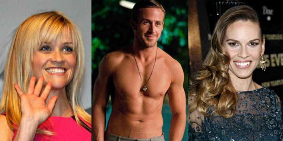 FÅR HJELP: Reese Witherspoon, Ryan Gosling og Hillary Swank er noen av dem som får hjelp av Hollywoodtrenerne til å holde seg i form.  FOTO: Scanpix og SF Film Norge