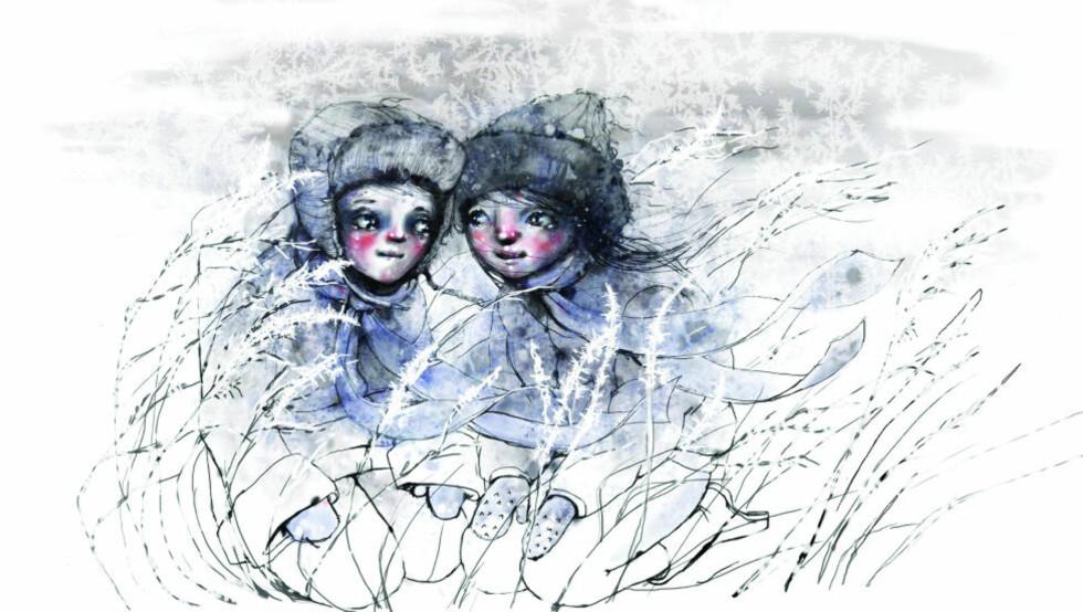 KJÆRLIGHET: Litteraturen skal ta opp de store, viktige temaene, mener Gaute Heivoll. «Svalene under isen», illustrert av Lisa Aisato, handler om kjærlighet. Illustrasjon: FRA BOKA