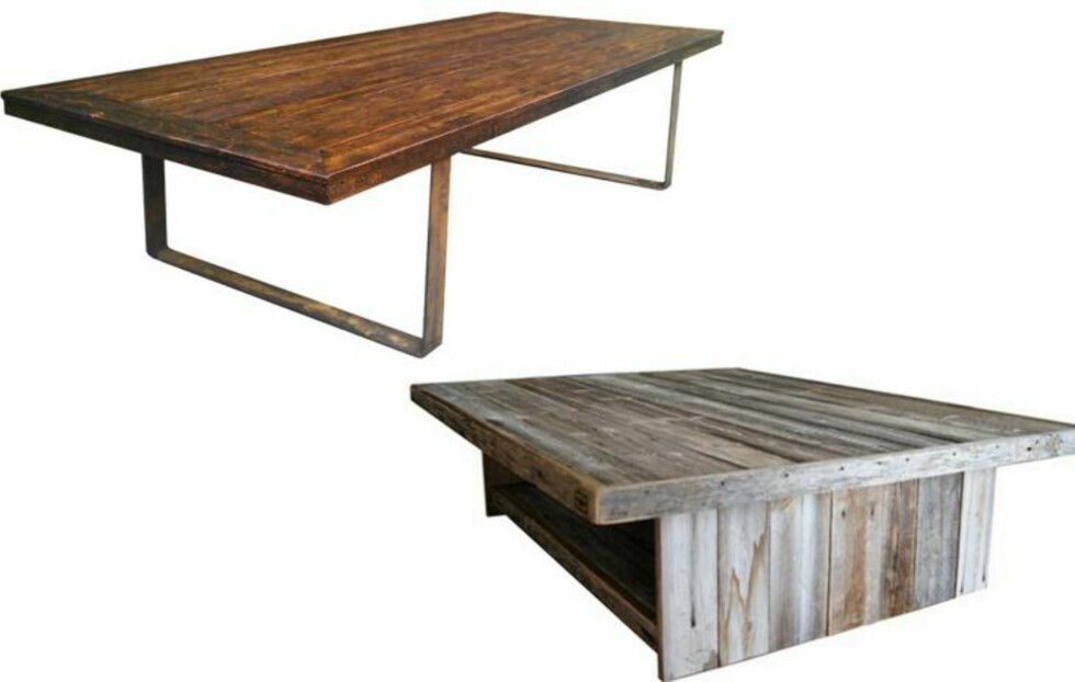 RØFFE BORD: To tøffe bord laget av gamle materialer fra Drivved.no FOTO: Produsentene
