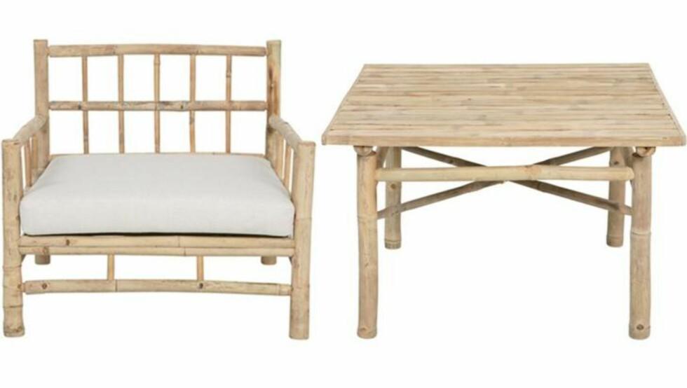 LETT OG LUFTIG: Bambusmøbler er en stor trend i år. Materialet har et lett, men samtidig rustikt uttrykk som egner seg godt på hytta. Denne serien har også en benk og to ulike bord. Fra babazar.no,  FOTO: Produsentbilde