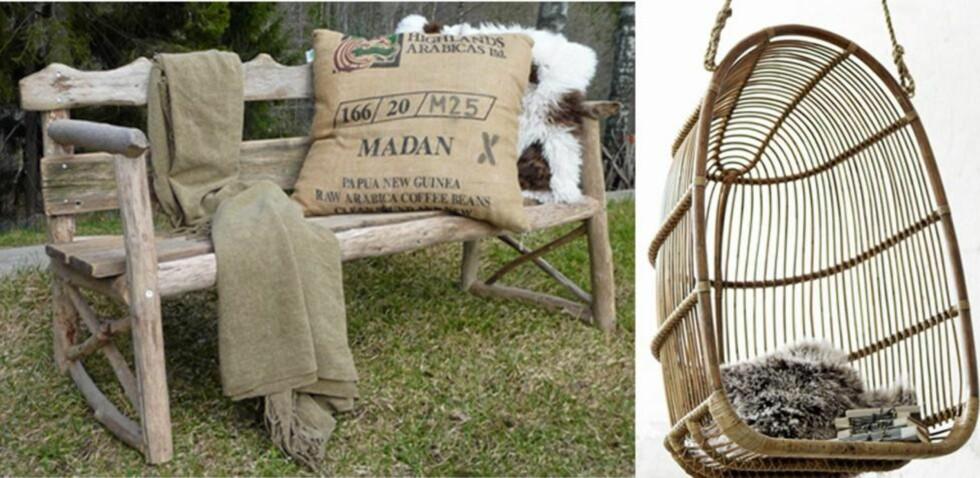 TRENDY: En røff benk eller en herlig hengestol er to av møblene du kan innrede uteplassen din med i år. Den rustikke og naturlige stilen er like trendy som før. Benk fra drivved.no, hengestol fra sikadesign.no FOTO: Produsentbilde