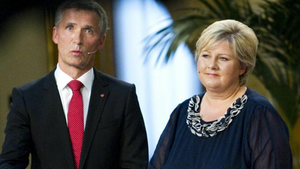 BLÅTT ELLER RØDGRØNT? Erna Solberg (t.h) er ikke lenger distansert når folket peker ut sin statsministerkandidat. Foto: Thomas Rasmus Skaug/Dagbladet