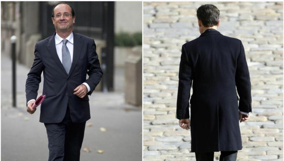 HOLLANDE KOMMER, SARKOZY GÅR: François Hollande (t.v) blir landets neste president, ifølge valgdagsmålinger. Det betyr et sviende nederlag for sittende president Nicolas Sarkozy (t.h). Foto: AFP/Fred Dufour/Eric Feferberg/Scanpix