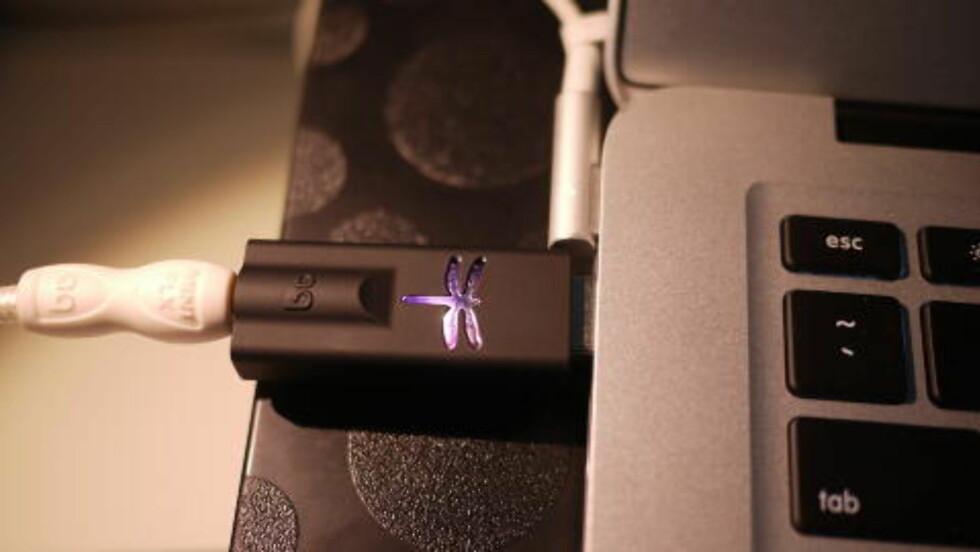 DIGITAL: Audioquests Dragonfly er en digitalomformer på en USB-pinne. Kobler du hodeltelefoner eller øreplugger via denne, får du en helt annen lydkvaltiet enn fra datamaskinens innebygde digital/analog-omformer.