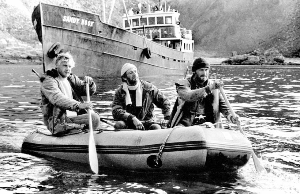 ORIGINALEN: «Orions belte» er en sjelden, norsk actionsuksess fra åttitallet. Fra venstre Sverre Anker Ousdal, Helge Jordal og Hans Ola Sørlie.