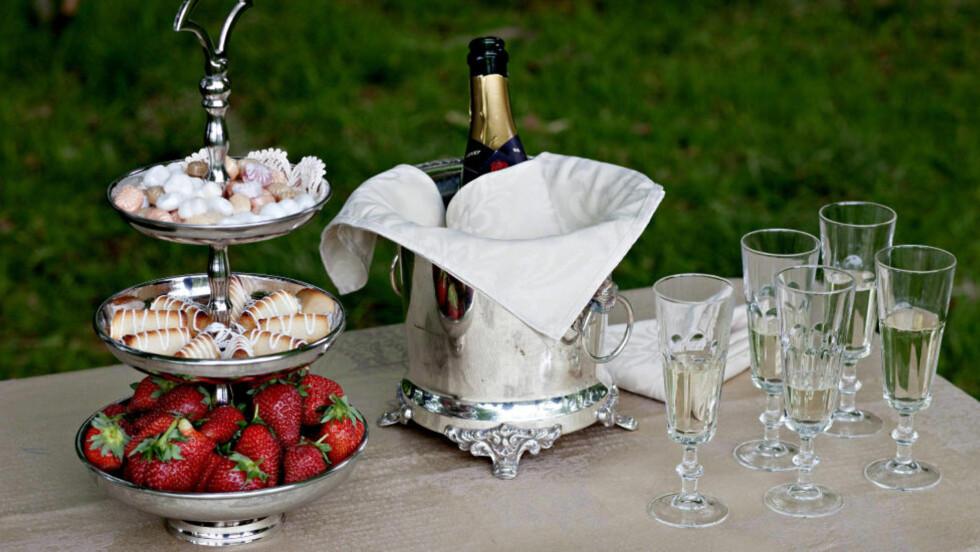 MAIFEST: Champagne i høye, smale glass og søte kaker med bær hører til på 17. mai-festen. Foto: LARS EIVIND BONES