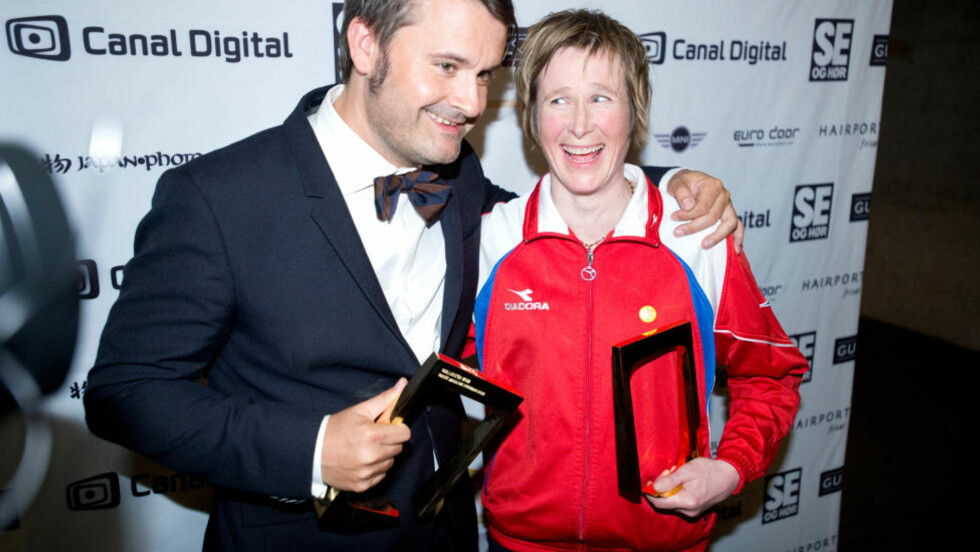 BESTE PROGRAMLEDERE:  Thomas Seltzer og Linda Eide fikk pris for henholdsvis beste mannlige og kvinnelige programleder.  Foto: Thomas Rasmus Skaug / Dagbladet