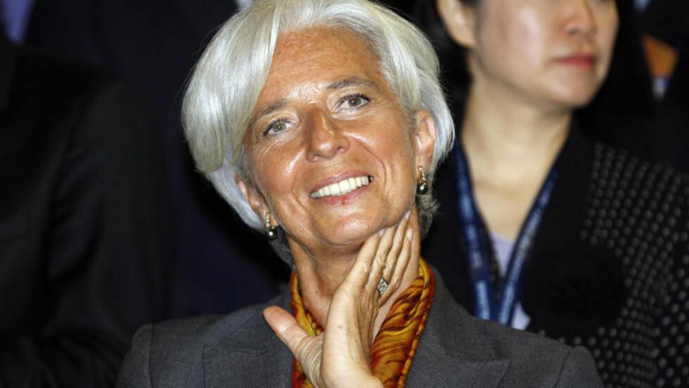 FÅR LÅN: IMF-direktør Christine Lagarde har grunn til å smile. Fondet får låne 54 milliarder av Norge. Foto: REUTERS/Osman Orsal