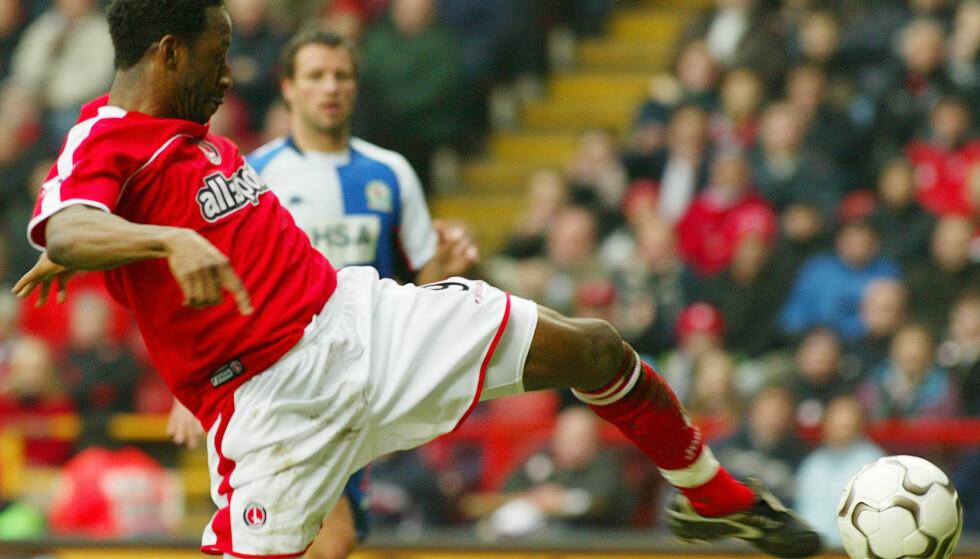 CHARLTON: Jason Euell i det han scorer mot Blackburn Rovers. Foto: AP Photo/Alastair Grant