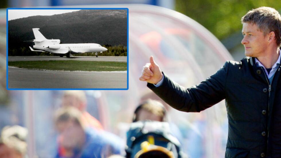 SATTE SEG PÅ FLYET: Ole Gunnar Solskjær skjulte det godt, men skal ha vært ombord på Aston Villa-jeten da den forlot Kristiansund i morges. Foto: Erik Hattrem/Dagbladet/Scanpix