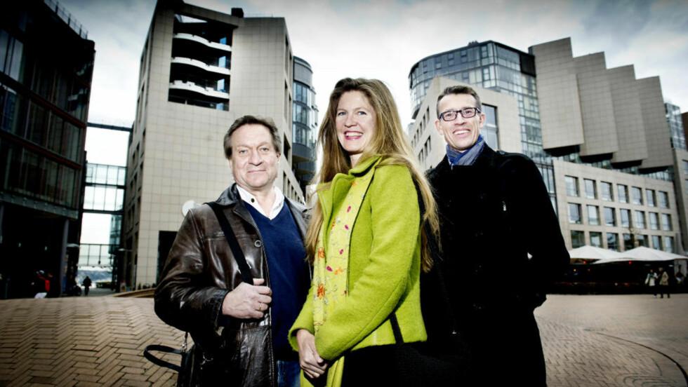 Finansforfattere: Forfatterne Tom Kristensen, Ingrid Berglund og Eirik Wekre har alle erfaring fra jobber i finansbransjen. Foto: John T. Pedersen/Dagbladet