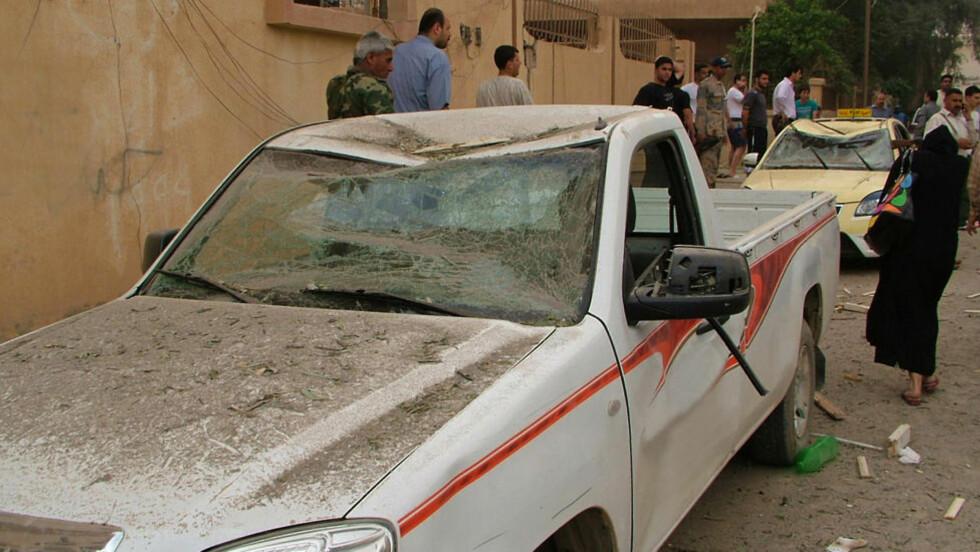 EKSPLOSJON: Her gikk bilbomgen av i formiddag. Foto: AFP/HO/SANA