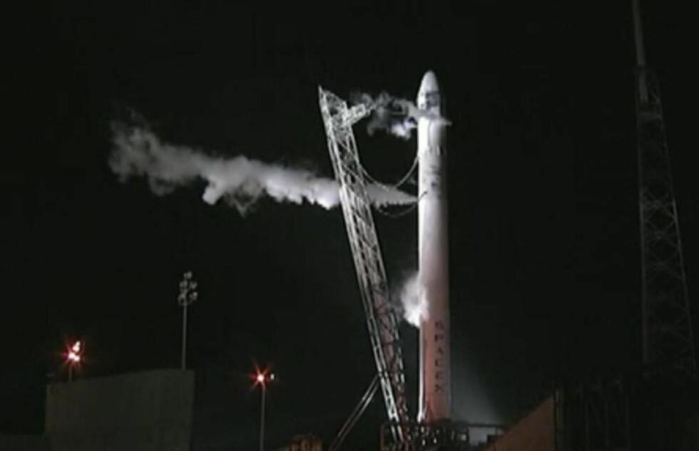 AVBRUTT I SISTE SEKUND:  På grunn av en antenning i en av motorene ble systemene skrudd av automatisk da romfartøyet skulle skytes opp. Foto: AP / NASA