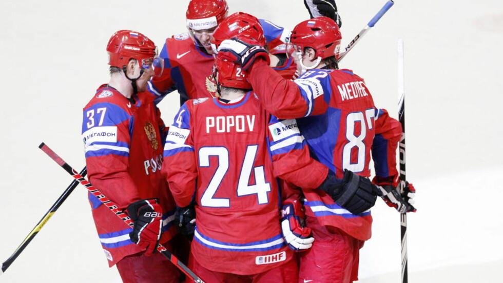 LETT TIL SLUTT: Russland ristet av seg sjokkåpningen og vant enkelt 6-2 i VM-finalen. Foto: Håkon Mosvold Larsen / NTB scanpix