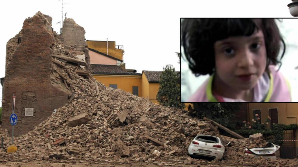 BEGRAVET: Det gamle klokketårnet i landsbyen Finale Emila i den italienske provinsen Modena ble helt ødelagt etter at den nordøstlige delen av Italia ble rammet av jordskjelv. Fem år gamle Vittoria ble begravd da tårnet raste over huset der hun lå og sov. Foto: Pierre Teyssot/AFP/NTBscanpix/Sky