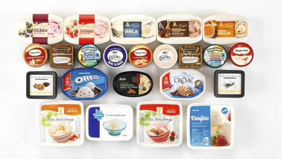 ISKREM: DinKost.no har testet næringsinnholdet i 23 typer iskrem på boks. Foto: Petter Berg, HM Foto