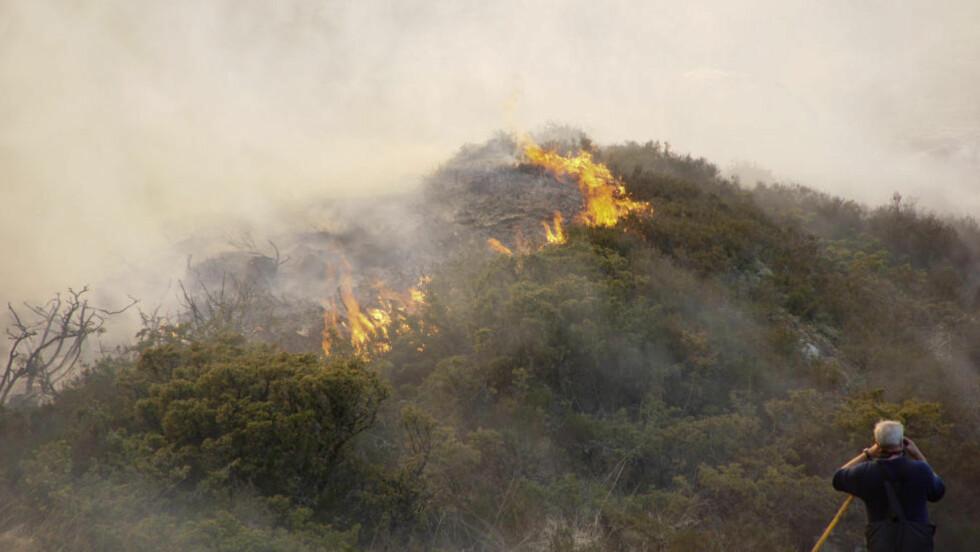 GRESSBRANN: En stor gressbrann begynte å bevege seg mot et boligområde på Sotra i Hordaland da vinden skiftet retning torsdag. Ved 2130-tiden er brannen stadig ikke under kontroll og den synes å spre seg fort. Foto: Remi Bøe Presttun / NTB scanpix