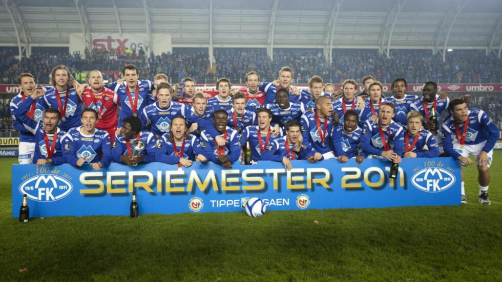VANT I 2011: Molde-spillerne jubler etter å ha sikret seriemesterskapet i fjor. Her feirer de på Aker Stadion. Foto: Svein Ove Ekornesvåg / Scanpix