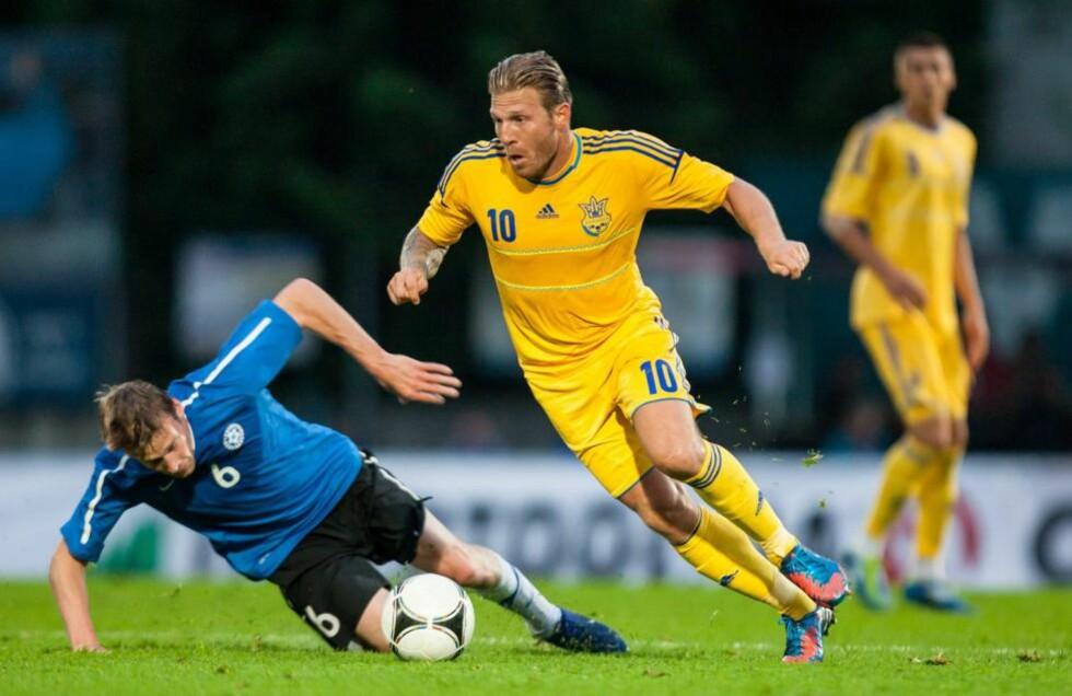 RÅTT PARTI: Andrej Voronin og Ukraina overbeviste i treningskampen mot Estland. Foto: NTB scanpix