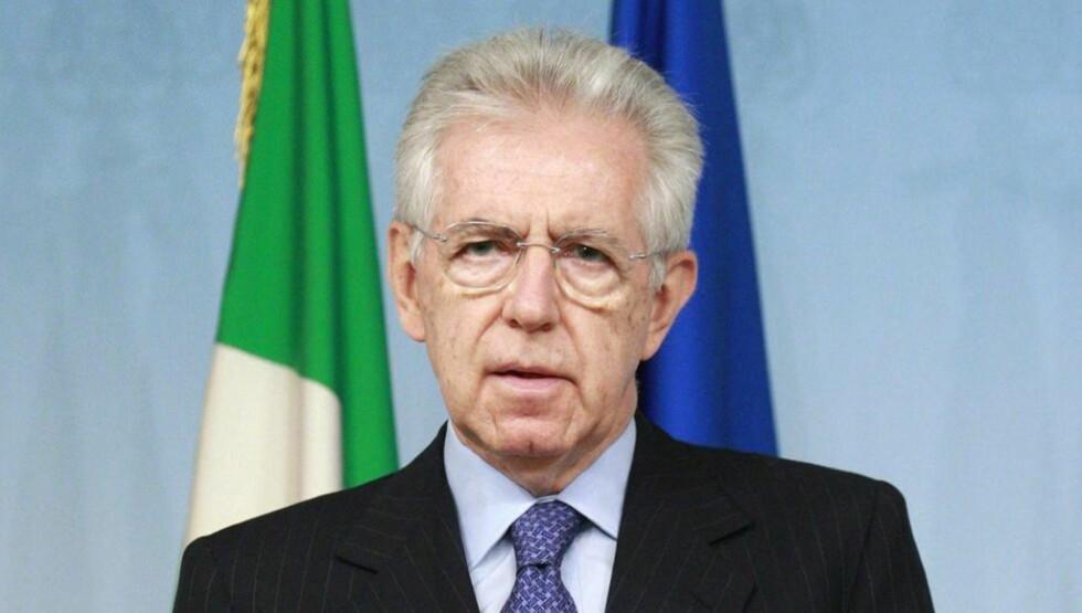 BER OM VURDERING AV FOTBALLPAUSE: Italias statsminister Mario Monti kaller deler av hendelsene rundt fotballen i landet for skammelige. Foto: SCANPIX/EPA/SAMANTHA ZUCCHI