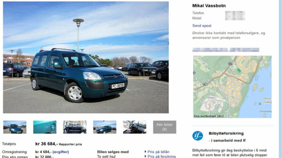 ANNONSEN: Det var denne bilen svindleren ønsket å betale 200 000 for. Skjermdump: Finn.no