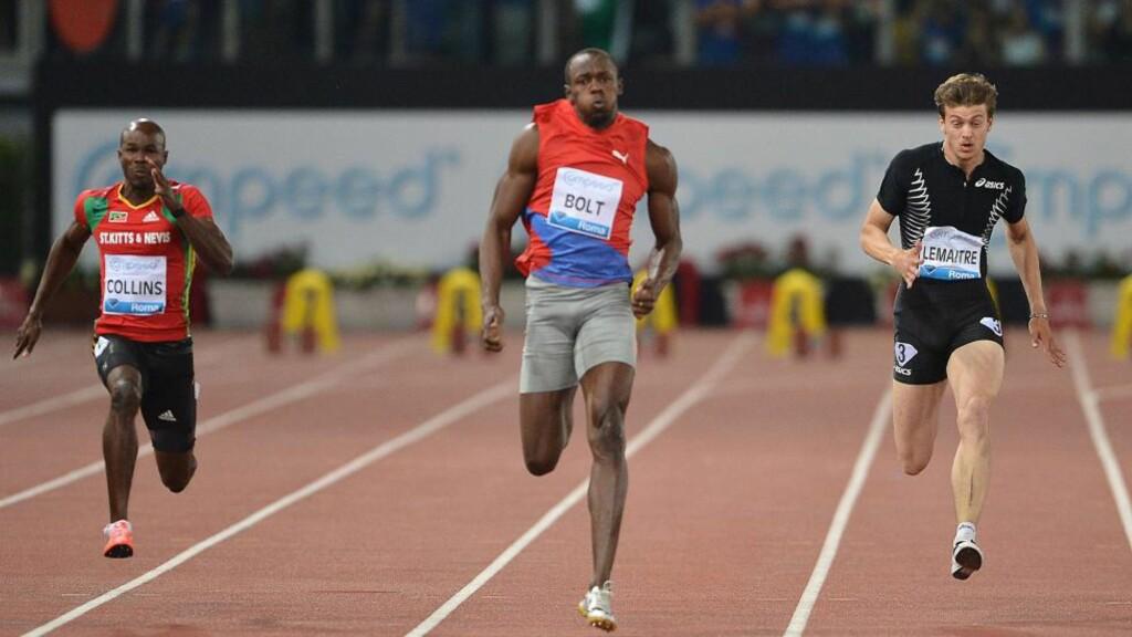 LEVERTE IGJEN: Usain Bolt fosset inn til ny stadionrekord og 9,76 i Roma i kveld. Foto: SCANPIX/AFP/ANDREAS SOLARO