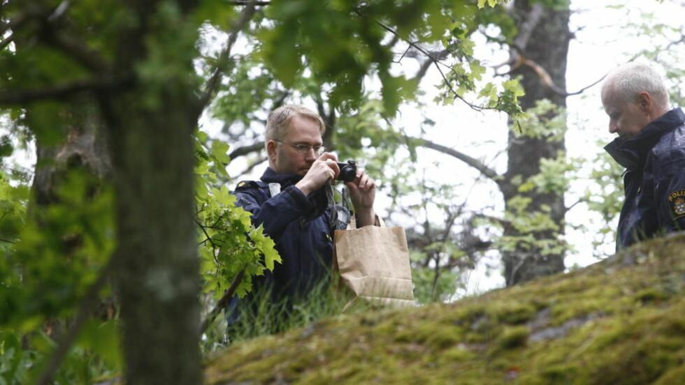 FUNNET HENGT I TRE: Svensk politi har startet drapsetterforskning etter at en 17 år gammel jente i går morges ble funnet hengt i et tre ved en skole i nærheten av sitt hjem i Skärholmen i Stockholm.  Foto: Gunnar Seijbold/Expressen