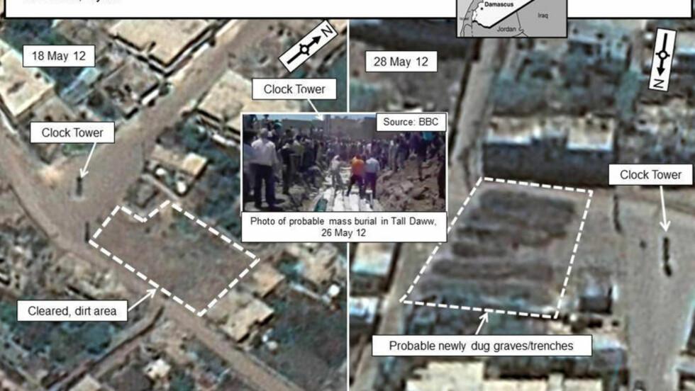 - MASSEGRAVER: En kombinasjon av sattelitbilder fra byen Tall Daww i Syria. Bildene er tatt 18. og 28. mai. Ifølge amerikanske myndigheter viser områdene med striplet linje området for mulige massegraver. Foto: REUTERS/DigitalGlobe via the U.S. Government