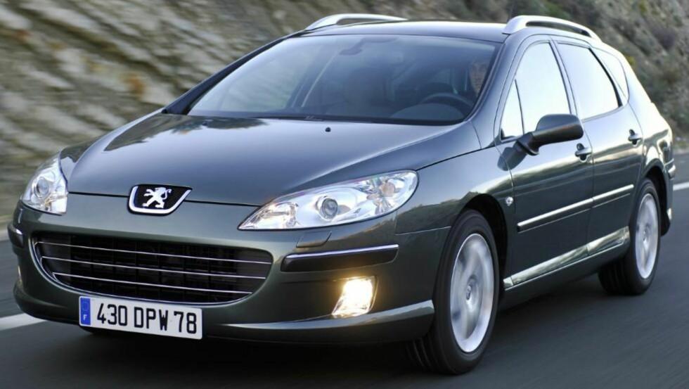 Peugeot 407: Rommelig familiestasjonsvogn fra Peugeot med god kjørekomfort og nøysomme dieselmotorer. Foto: Peugeot