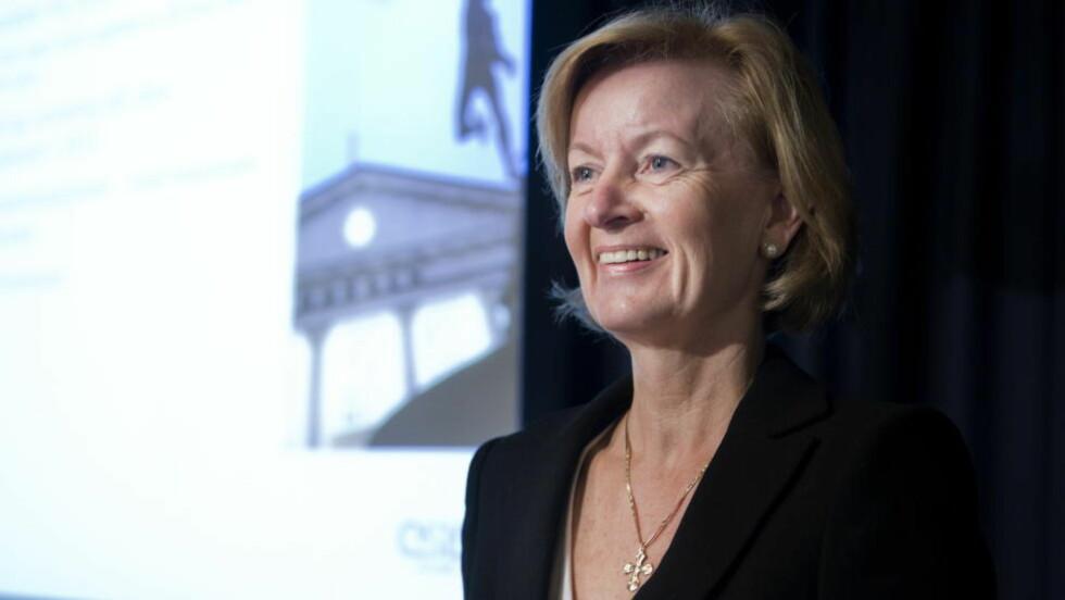 GULLPENSJON: Børsdirektør Bente A. Landsnes har en lønns- og pensjonsavtale som kan gi henne 88 millioner kroner dersom hun blir i stillingen i 13 år, fram til hun fyller 62 år. Foto: Berit Roald / Scanpix