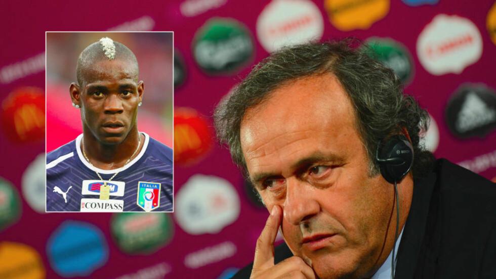 DOMMEREN SOM DØMMER: Michel Platini mener at spillere ikke bør forlate banen om de blir utsatt for rasehets under EM. Foto: EPA/VASSIL DONEV/NTB scanpix